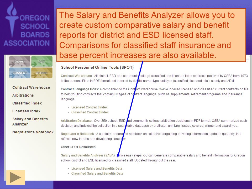 The Salary and Benefits Analyzer allows you to create custom comparative salary and benefit reports for district and ESD licensed staff.