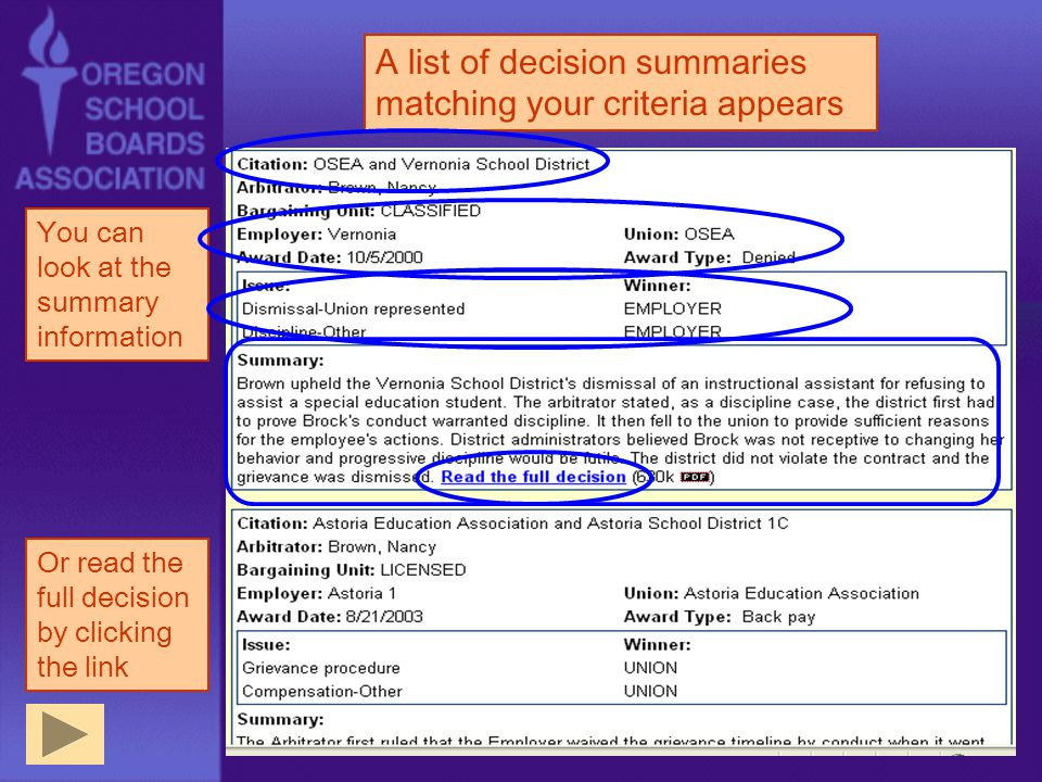 A list of decision summaries matching your criteria appears You can look at the summary information Or read the full decision by clicking the link