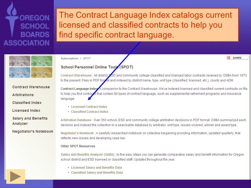 The Contract Language Index catalogs current licensed and classified contracts to help you find specific contract language.