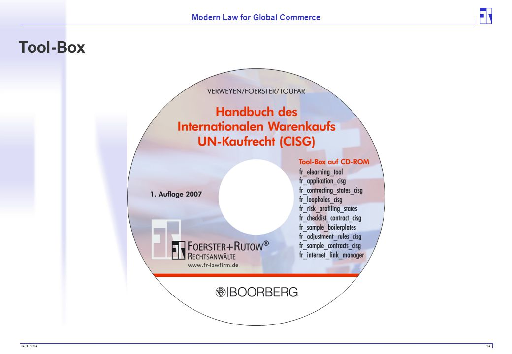 04.06.2014 14 Modern Law for Global Commerce Tool-Box