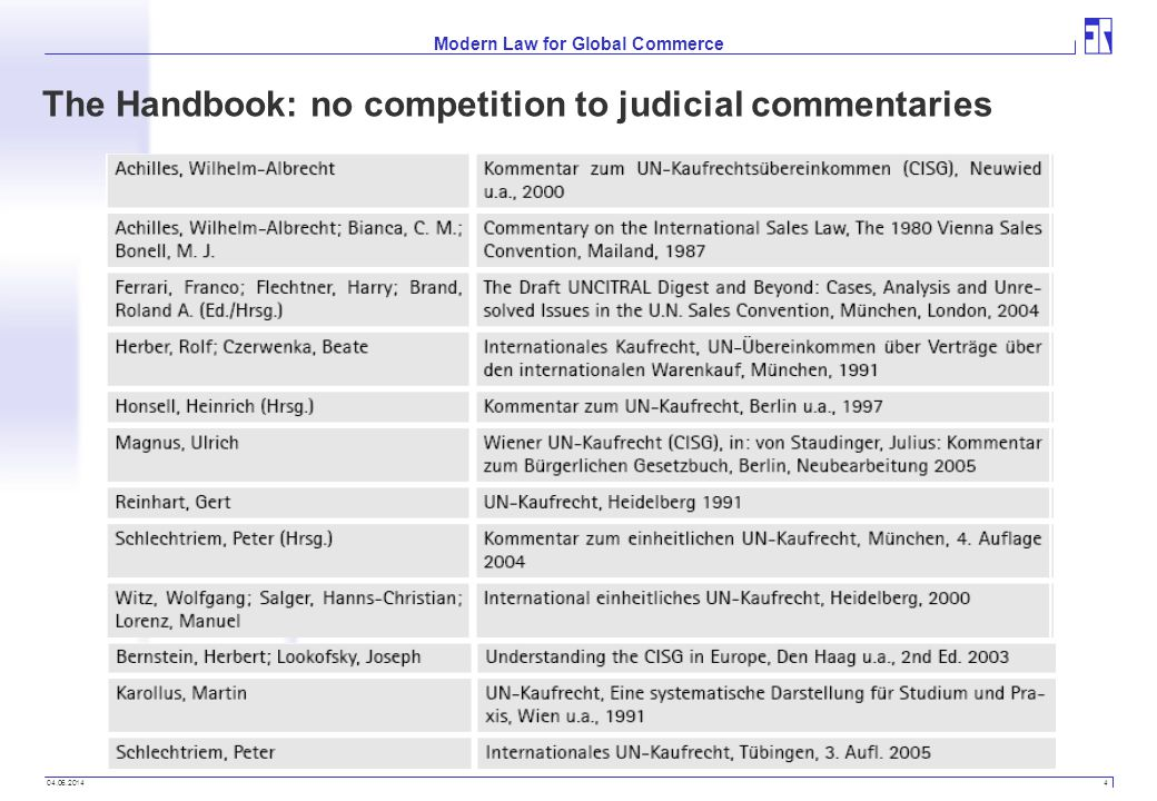04.06.2014 4 Modern Law for Global Commerce The Handbook: no competition to judicial commentaries