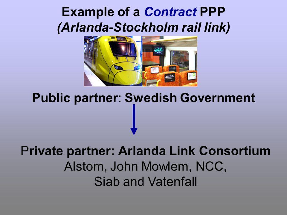 Example of a Contract PPP (Arlanda-Stockholm rail link) Public partner: Swedish Government Private partner: Arlanda Link Consortium Alstom, John Mowlem, NCC, Siab and Vatenfall