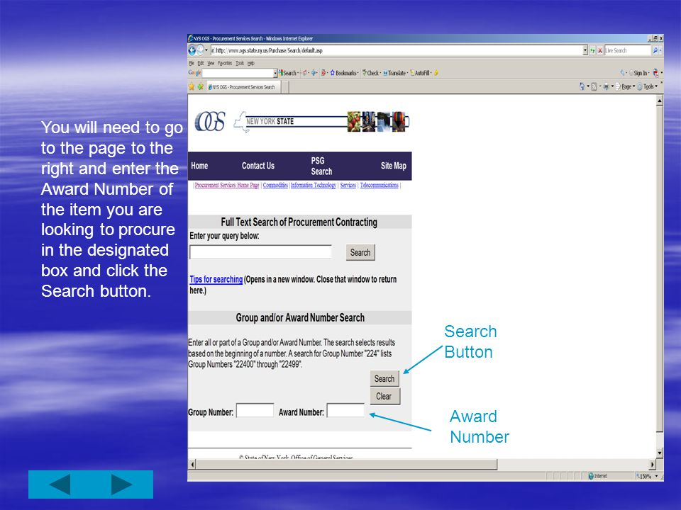 Award Number Search If you know the Award Number of the contract you are looking for, you can simply enter the number and search the site for that contract.