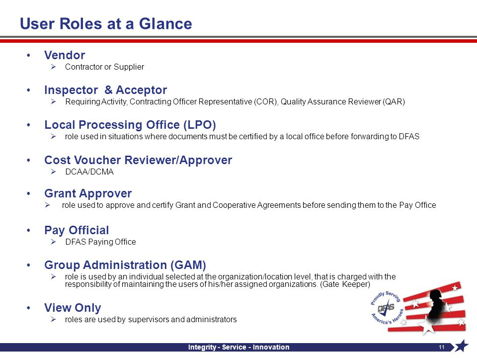 Integrity - Service - Innovation 11 Vendor Contractor or Supplier Inspector & Acceptor Requiring Activity, Contracting Officer Representative (COR), Q