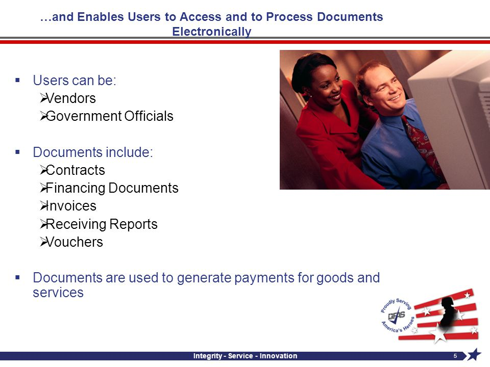 Integrity - Service - Innovation 5 …and Enables Users to Access and to Process Documents Electronically Users can be: Vendors Government Officials Doc