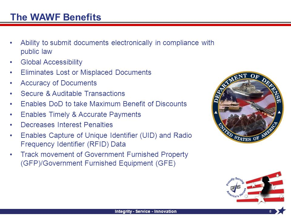Integrity - Service - Innovation 8 Ability to submit documents electronically in compliance with public law Global Accessibility Eliminates Lost or Mi