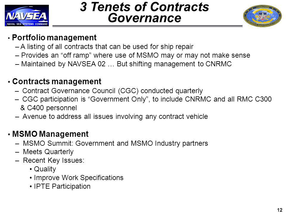 Portfolio management – A listing of all contracts that can be used for ship repair – Provides an off ramp where use of MSMO may or may not make sense