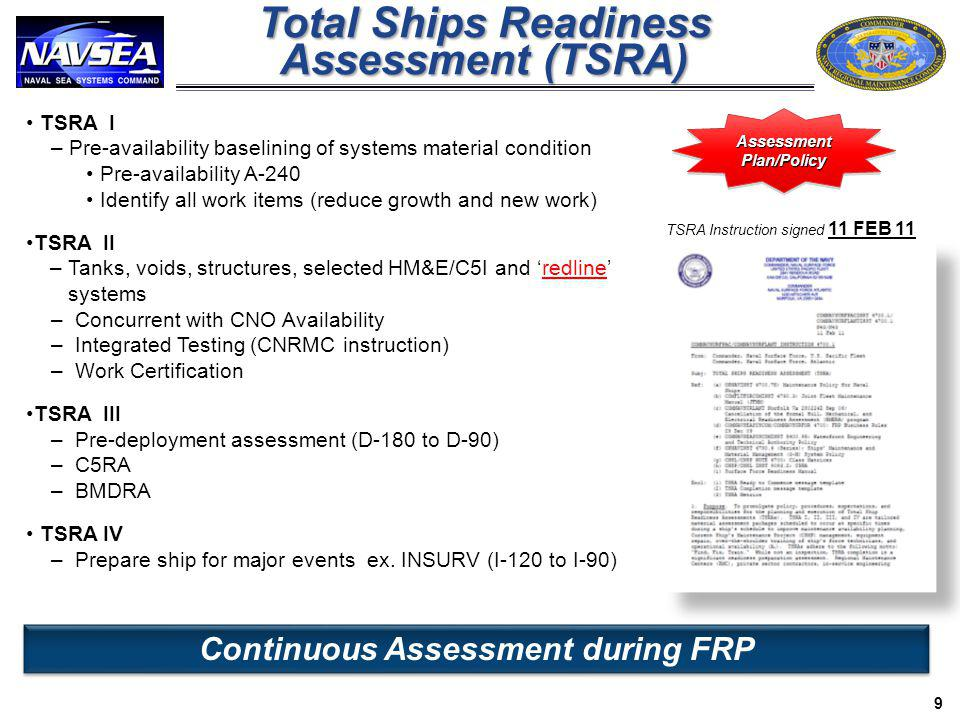 Continuous Assessment during FRP AssessmentPlan/PolicyAssessmentPlan/Policy TSRA Instruction signed 11 FEB 11 TSRA I – Pre-availability baselining of