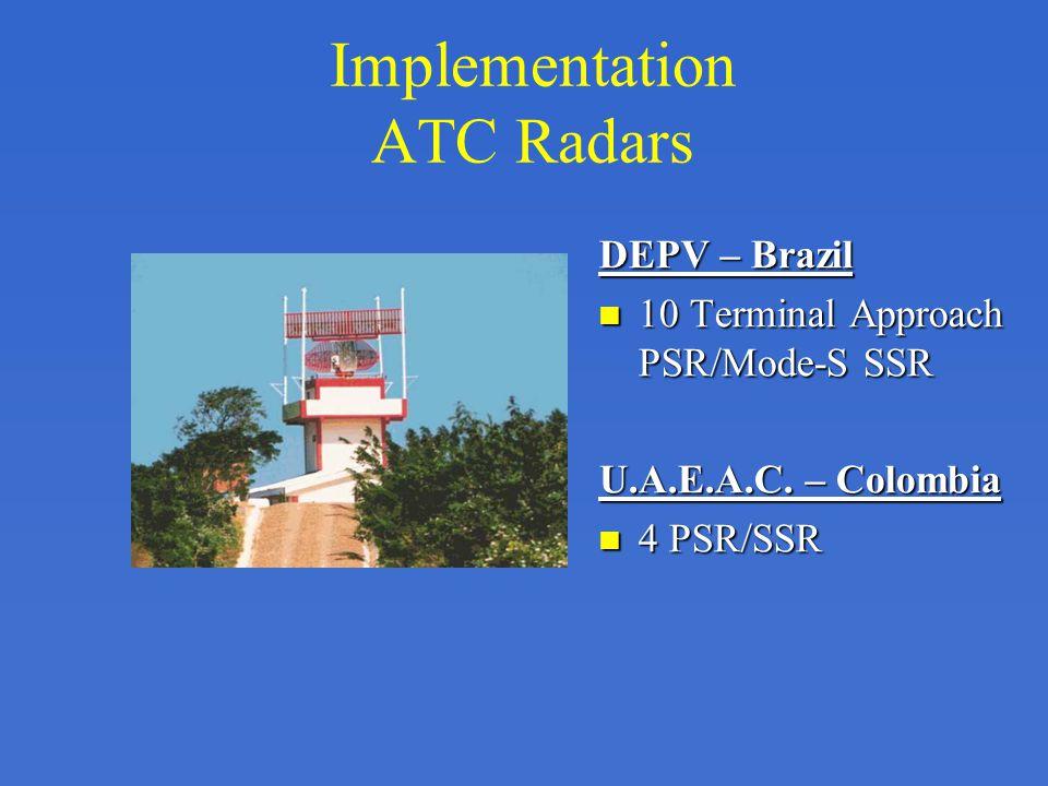 Implementation ATC Radars DEPV – Brazil 10 Terminal Approach PSR/Mode-S SSR U.A.E.A.C. – Colombia 4 PSR/SSR