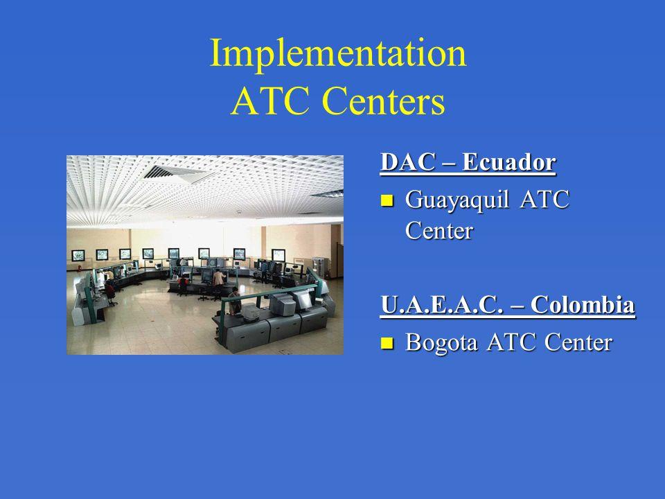 Implementation ATC Centers DAC – Ecuador Guayaquil ATC Center U.A.E.A.C. – Colombia Bogota ATC Center