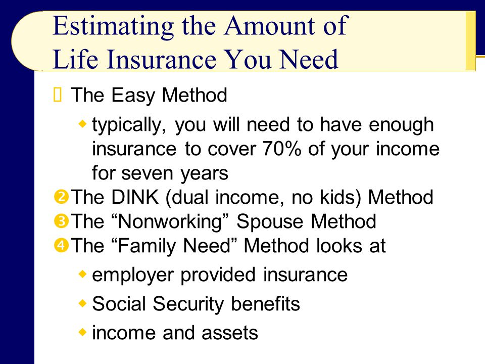 Estimating the Amount of Life Insurance You Need The Easy Method typically, you will need to have enough insurance to cover 70% of your income for sev
