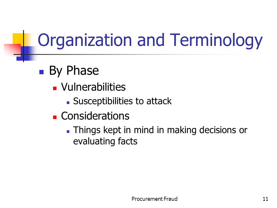 Procurement Fraud11 Organization and Terminology By Phase Vulnerabilities Susceptibilities to attack Considerations Things kept in mind in making decisions or evaluating facts