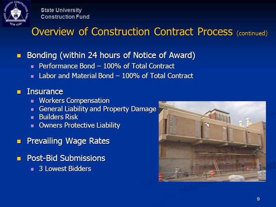 State University Construction Fund 9 Overview of Construction Contract Process (continued) Bonding (within 24 hours of Notice of Award) Bonding (withi