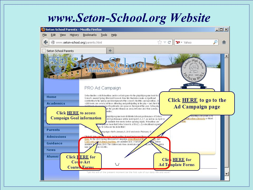 www.Seton-School.org Website Click HERE to access Campaign Goal information Click HERE to access Ad Campaign Contract Form Click HERE for Ad Template Forms Click HERE for Cover-Art Contest Forms Click HERE to go to the Ad Campaign page