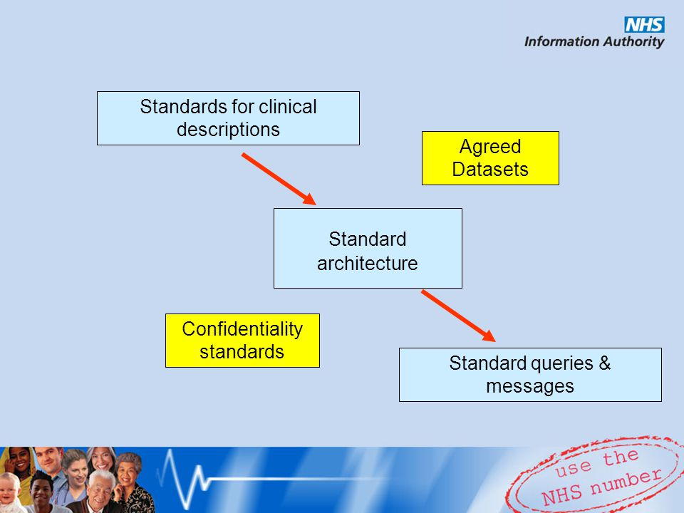Standard architecture Input Output Standards for clinical descriptions Standard queries & messages Agreed Datasets Confidentiality standards