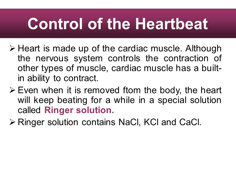 Heart is made up of the cardiac muscle. Although the nervous system controls the contraction of other types of muscle, cardiac muscle has a built- in
