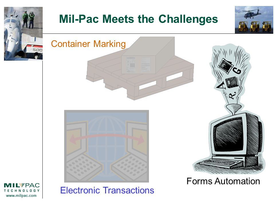 www.milpac.com Container Marking Electronic Transactions Forms Automation Mil-Pac Meets the Challenges