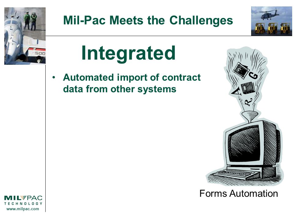 www.milpac.com Mil-Pac Meets the Challenges Integrated Automated import of contract data from other systems Forms Automation