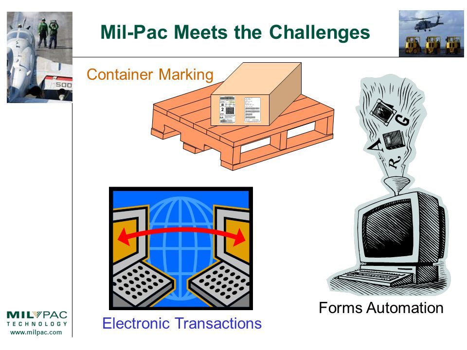 www.milpac.com Mil-Pac Meets the Challenges Electronic Transactions Generates, validates, and securely transmits: WAWF transactions Receiving Report, Invoice, Combo, Pack Update / Advance Shipping Notice, etc.