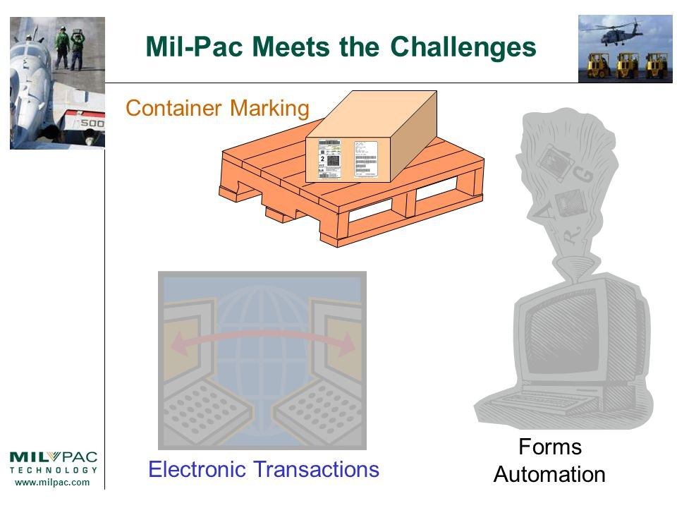 www.milpac.com Mil-Pac Meets the Challenges Easy to Use Contract and Shipment Templates Single & Multi-User.