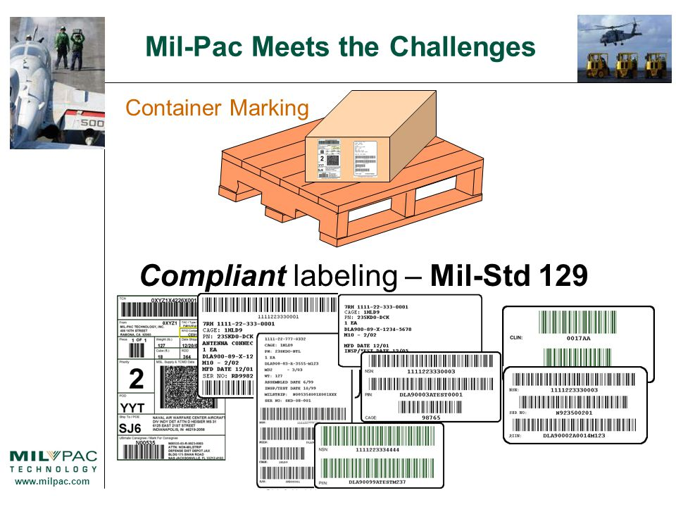 www.milpac.com Mil-Pac Meets the Challenges Container Marking Compliant labeling – Mil-Std 129