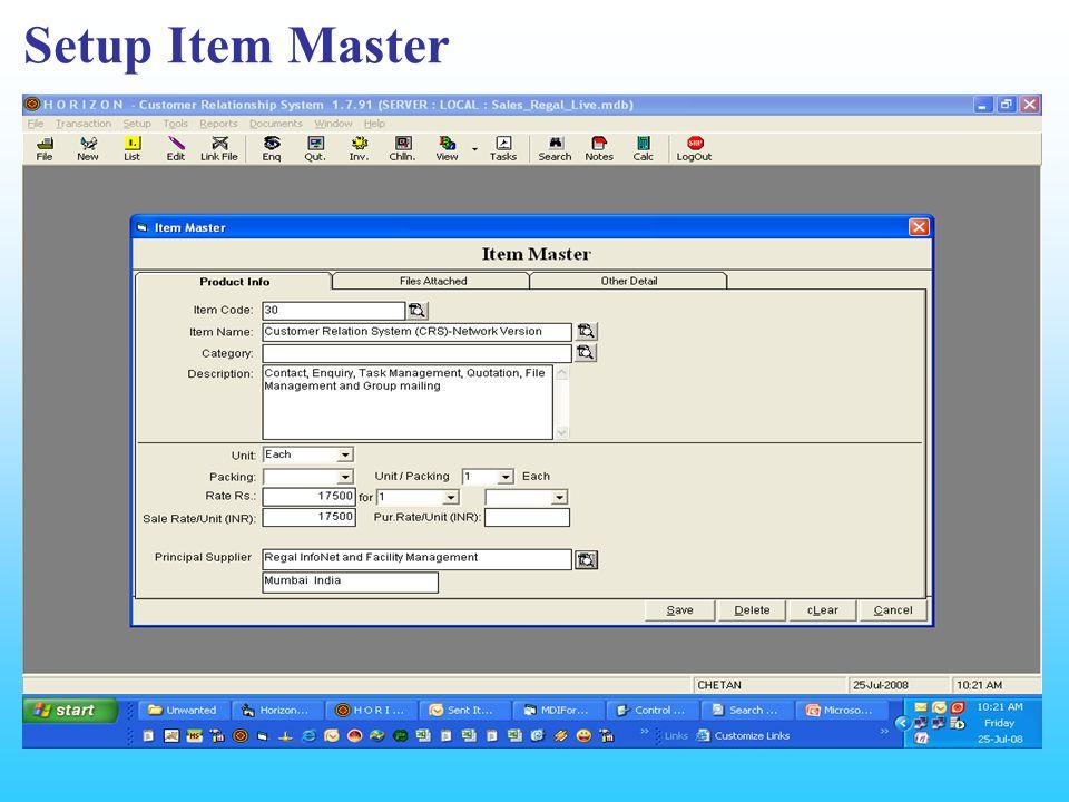Setup Item Master