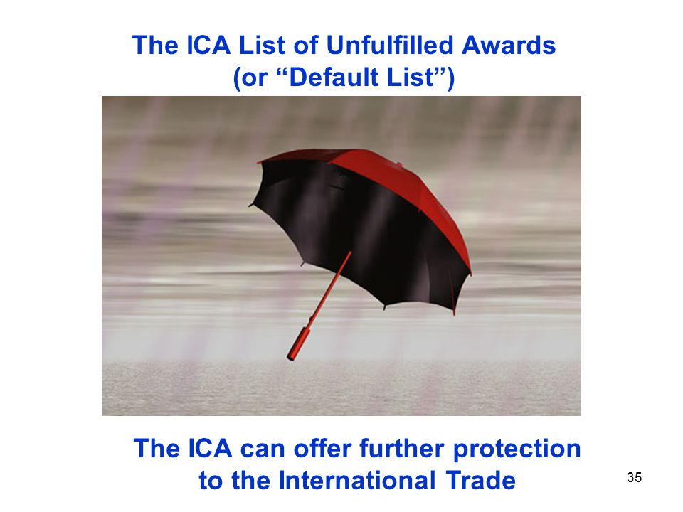 35 The ICA can offer further protection to the International Trade The ICA List of Unfulfilled Awards (or Default List)