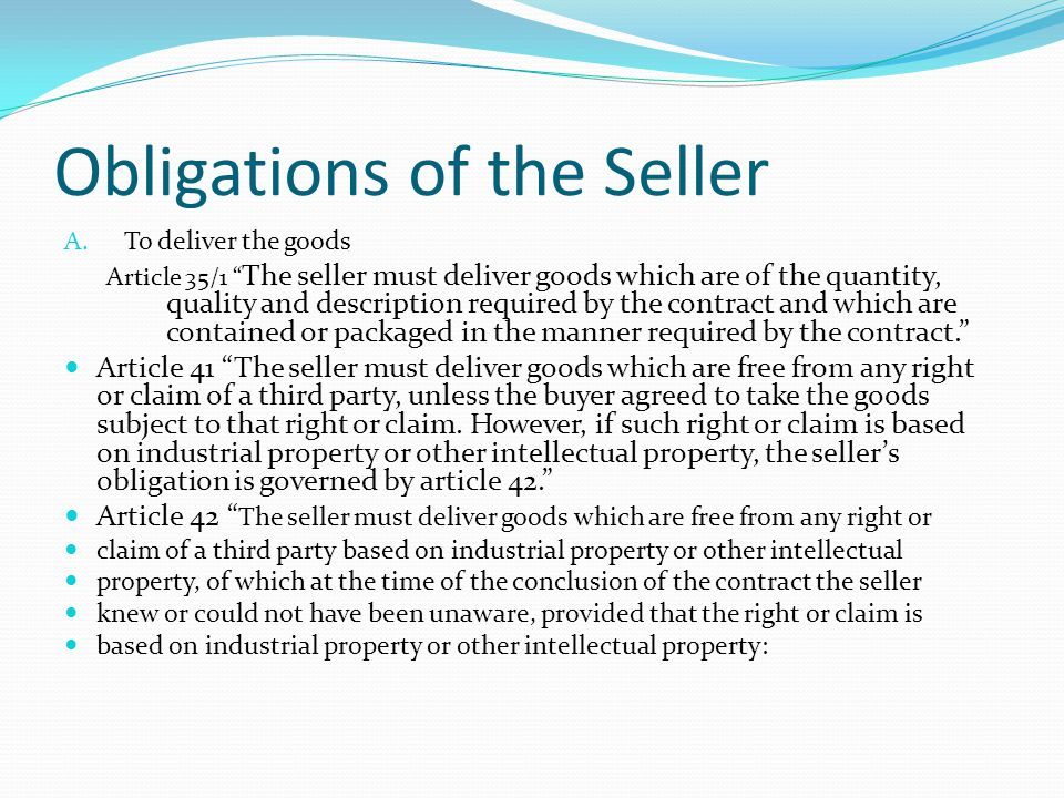 Obligations of the Seller A.