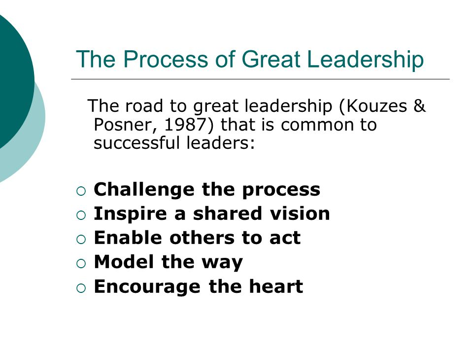 The Process of Great Leadership The road to great leadership (Kouzes & Posner, 1987) that is common to successful leaders: Challenge the process Inspi