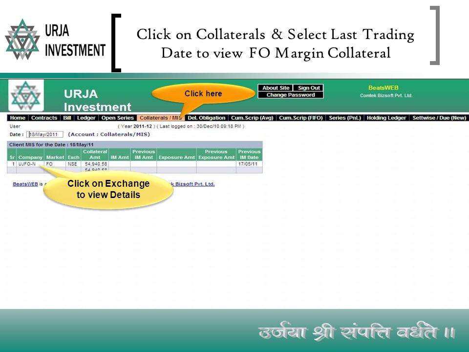 Click on Collaterals & Select Last Trading Date to view FO Margin Collateral Click on Exchange to view Details Click here