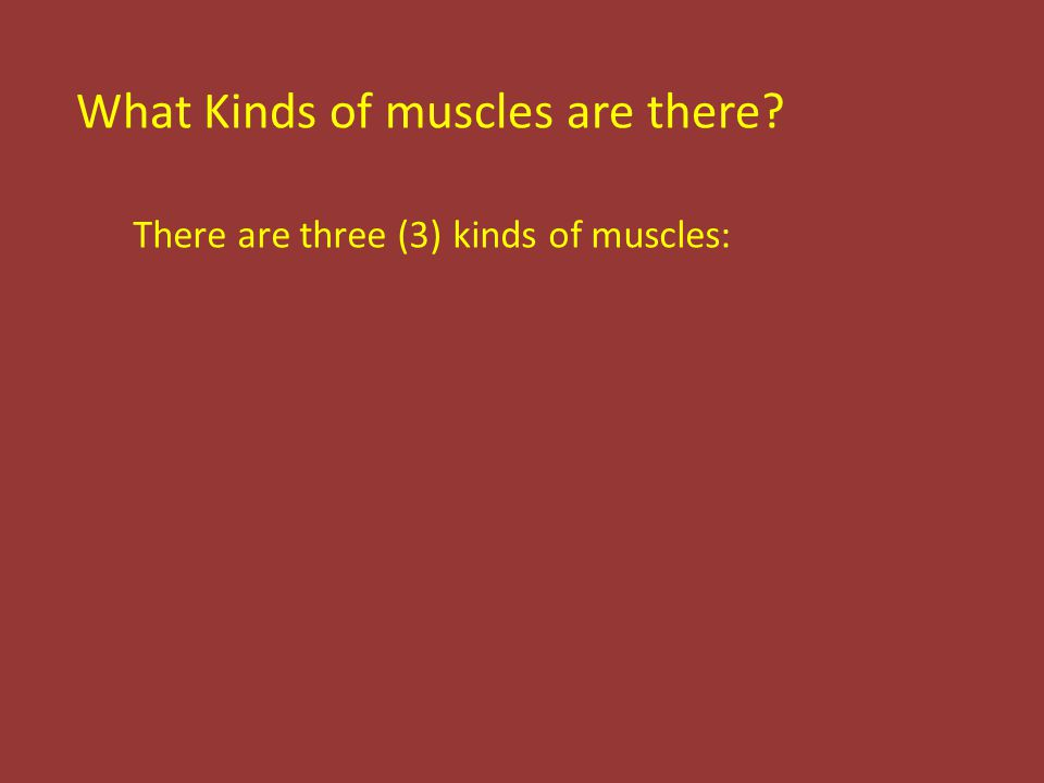 There are three (3) kinds of muscles: