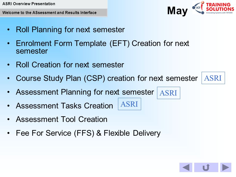 ASRI Overview Presentation Welcome to the ASsessment and Results Interface April Roll Planning for next term Course Study Plan (CSP) creation for next