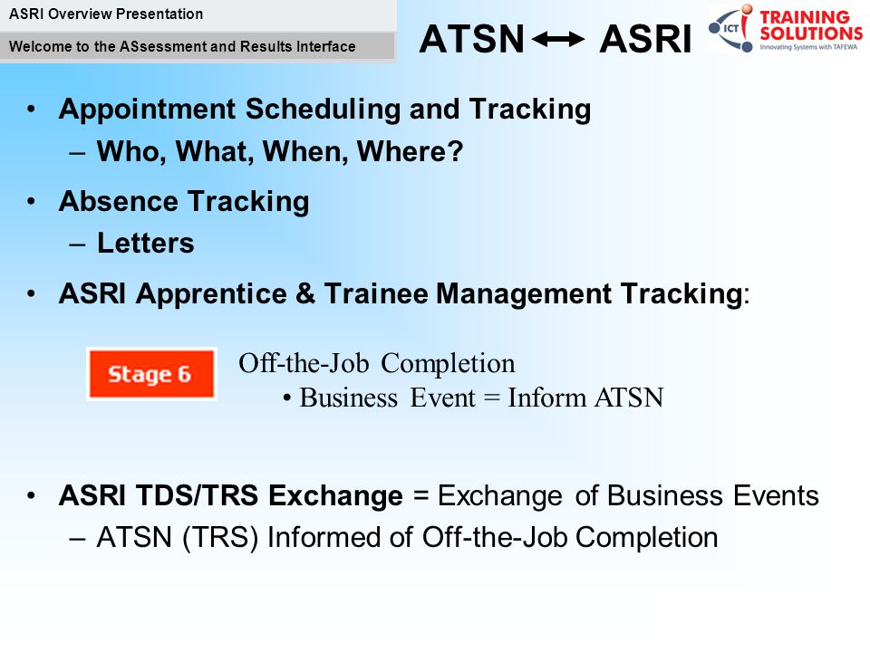 ASRI Overview Presentation Welcome to the ASsessment and Results Interface Start Training RTO lecturers and Employer –Continual Assessment What is the