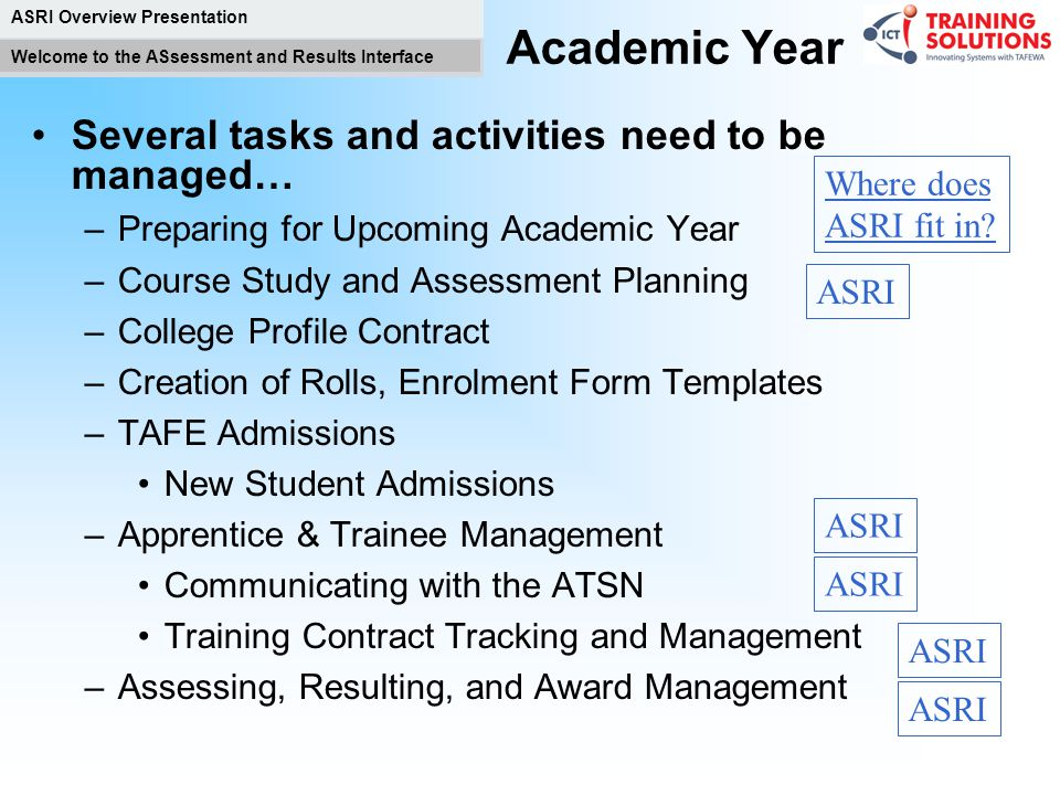 ASRI Overview Presentation Welcome to the ASsessment and Results Interface ASRI Background ASRI Implementation: Replaces functionality currently in th