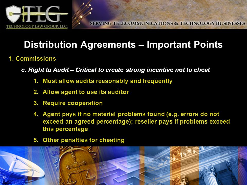 Distribution Agreements – Important Points 1. Commissions e.