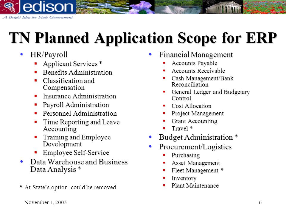 November 1, 20056 TN Planned Application Scope for ERP Financial Management Financial Management Accounts Payable Accounts Payable Accounts Receivable Accounts Receivable Cash Management/Bank Reconciliation Cash Management/Bank Reconciliation General Ledger and Budgetary Control General Ledger and Budgetary Control Cost Allocation Cost Allocation Project Management Project Management Grant Accounting Grant Accounting Travel * Travel * Budget Administration * Budget Administration * Procurement/Logistics Procurement/Logistics Purchasing Purchasing Asset Management Asset Management Fleet Management * Fleet Management * Inventory Inventory Plant Maintenance Plant Maintenance HR/Payroll Applicant Services * Benefits Administration Classification and Compensation Insurance Administration Payroll Administration Personnel Administration Time Reporting and Leave Accounting Training and Employee Development Employee Self-Service Data Warehouse and Business Data Analysis * * At States option, could be removed