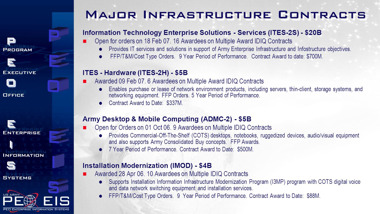 PEOEISPEOEIS Program Executive Office Enterprise Information Systems Program Executive Office Enterprise Information Systems Major Infrastructure Contracts Information Technology Enterprise Solutions - Services (ITES-2S) - $20B Open for orders on 18 Feb 07.