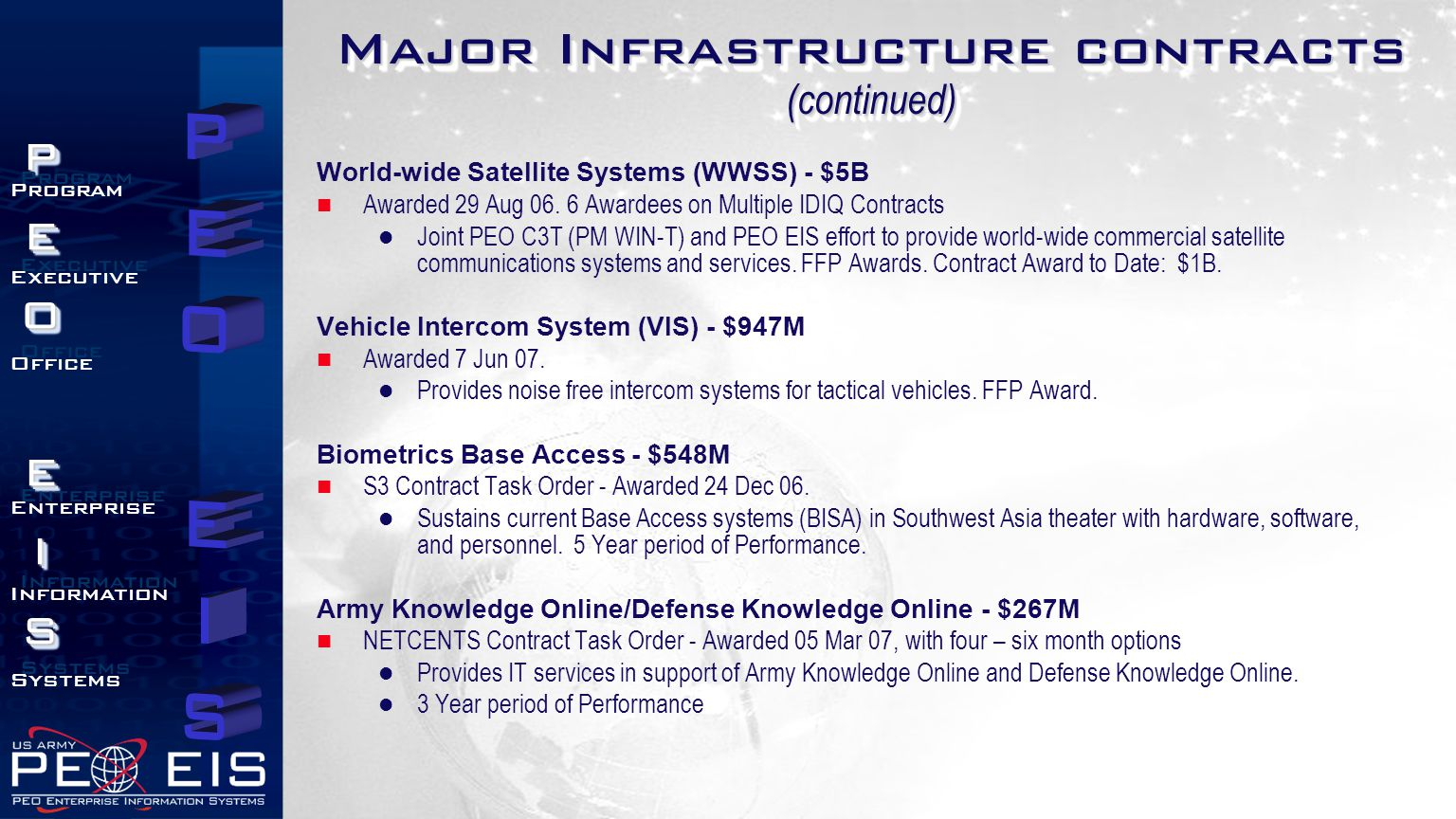 PEOEISPEOEIS Program Executive Office Enterprise Information Systems Program Executive Office Enterprise Information Systems Major Infrastructure contracts (continued) World-wide Satellite Systems (WWSS) - $5B Awarded 29 Aug 06.