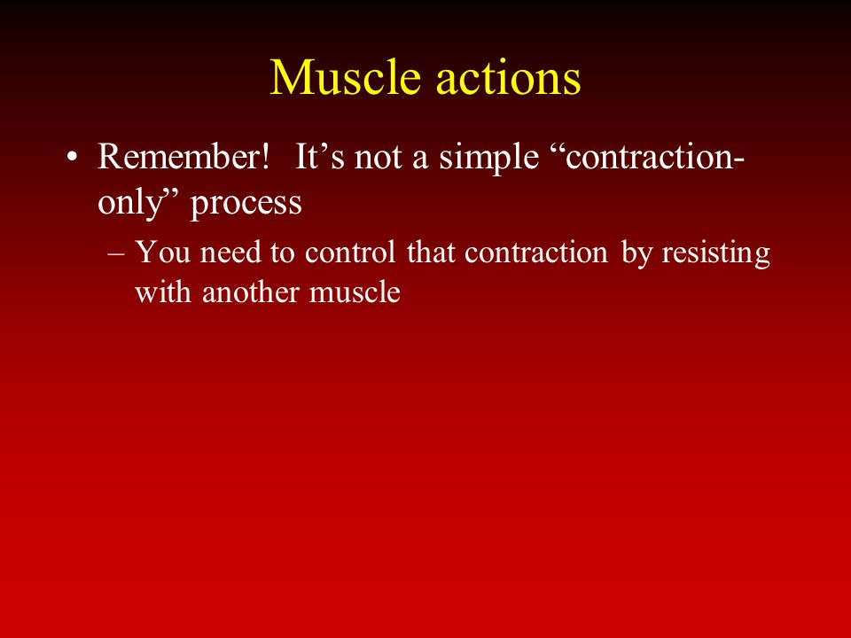 Muscle actions Remember! Its not a simple contraction- only process –You need to control that contraction by resisting with another muscle
