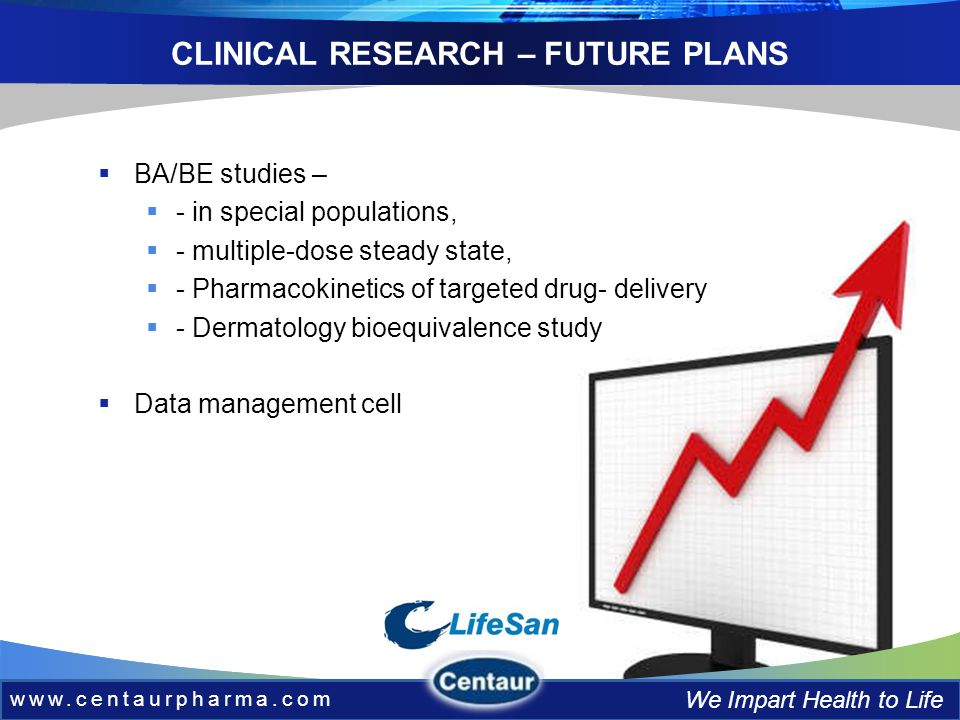 www.centaurpharma.com We Impart Health to Life CLINICAL RESEARCH – FUTURE PLANS BA/BE studies – - in special populations, - multiple-dose steady state, - Pharmacokinetics of targeted drug- delivery - Dermatology bioequivalence study Data management cell www.centaurpharma.com We Impart Health to Life