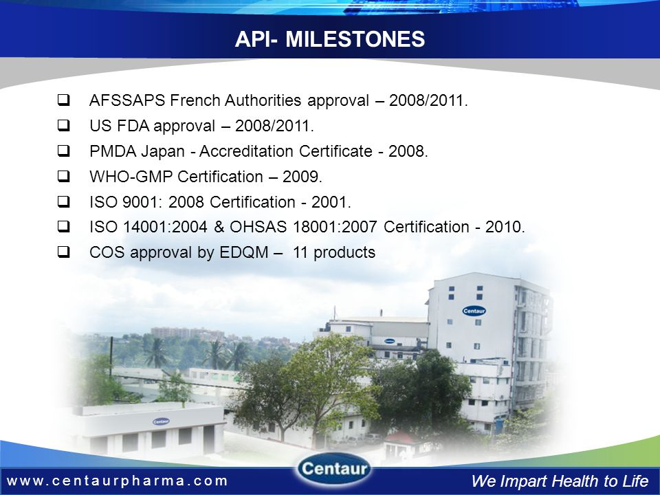 www.centaurpharma.com We Impart Health to Life API- MILESTONES AFSSAPS French Authorities approval – 2008/2011.