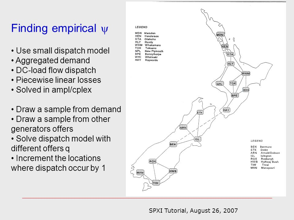 SPXI Tutorial, August 26, 2007 Finding empirical Use small dispatch model Aggregated demand DC-load flow dispatch Piecewise linear losses Solved in ampl/cplex Draw a sample from demand Draw a sample from other generators offers Solve dispatch model with different offers q Increment the locations where dispatch occur by 1