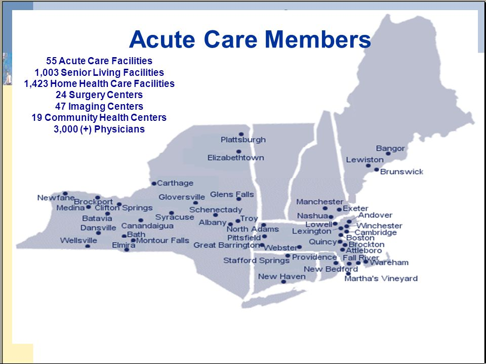 Acute Care Members 55 Acute Care Facilities 1,003 Senior Living Facilities 1,423 Home Health Care Facilities 24 Surgery Centers 47 Imaging Centers 19