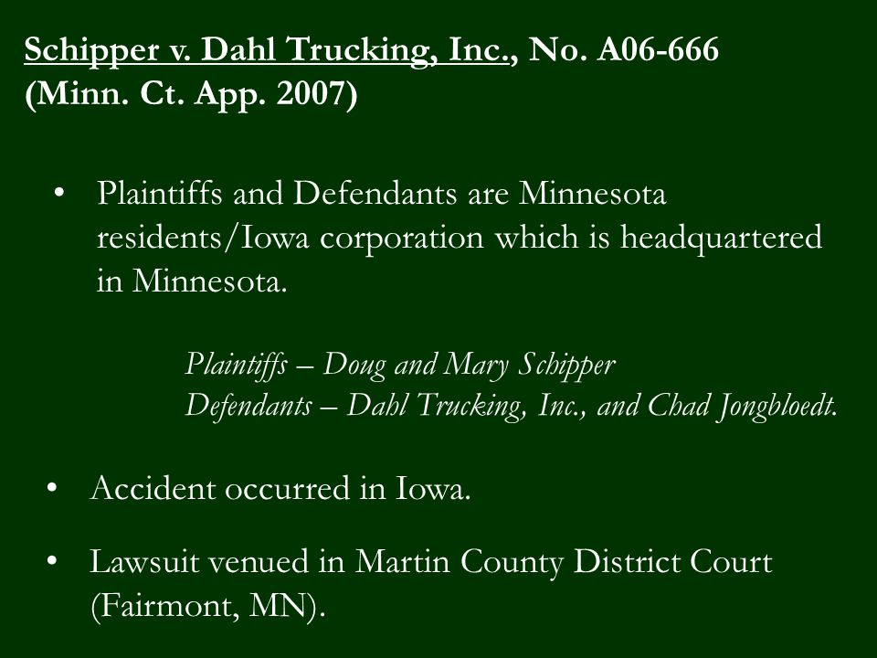 Plaintiffs and Defendants are Minnesota residents/Iowa corporation which is headquartered in Minnesota.