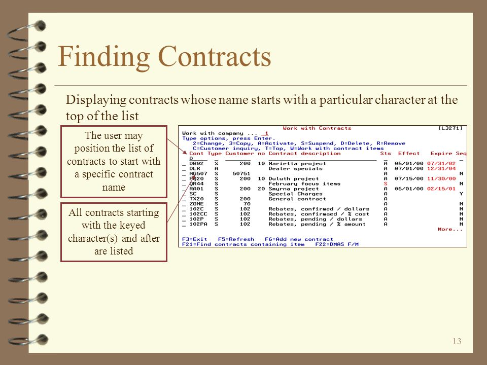 12 Finding Contracts 4 Entry capable line for sub-setting the list to include only desired contracts –Position the list to start with a specific contr