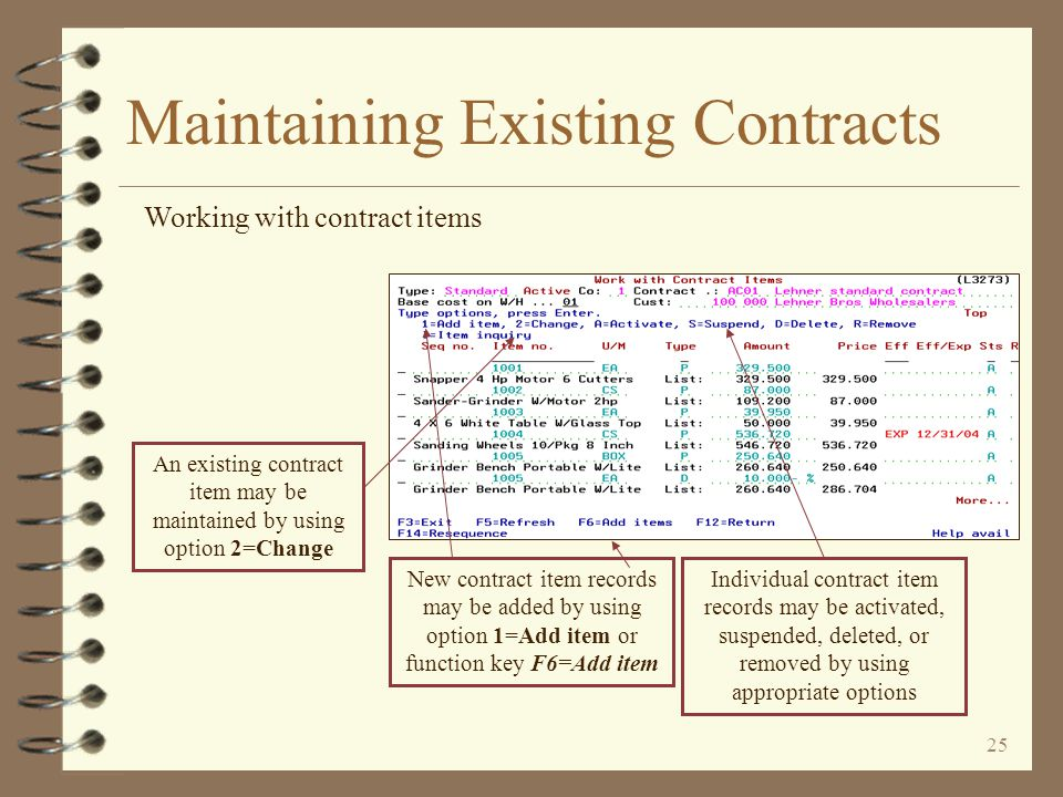 24 Maintaining Existing Contracts Maintaining a contract header Option 2 displays the contract header The user can change the customer number, the con