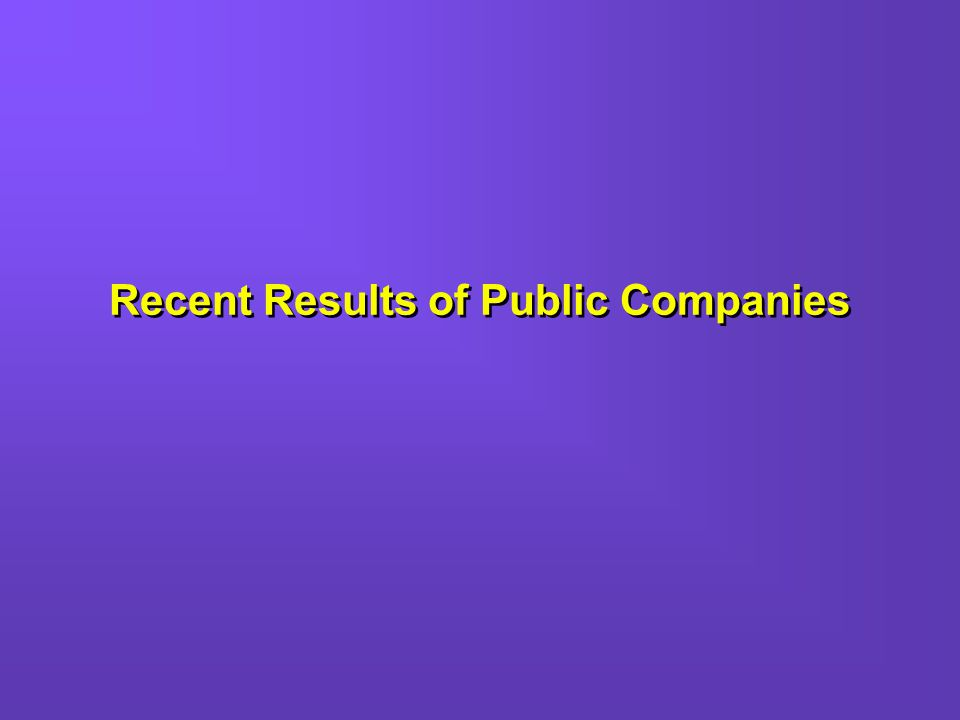 Recent Results of Public Companies