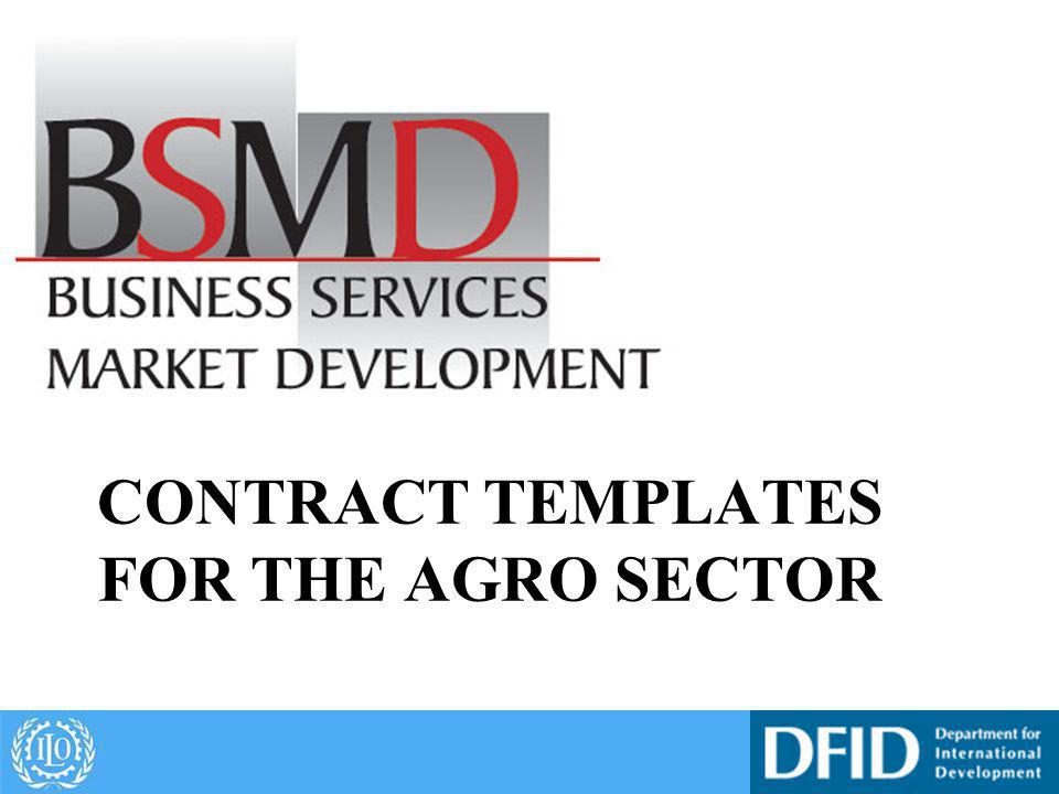 CONTRACT TEMPLATES FOR THE AGRO SECTOR