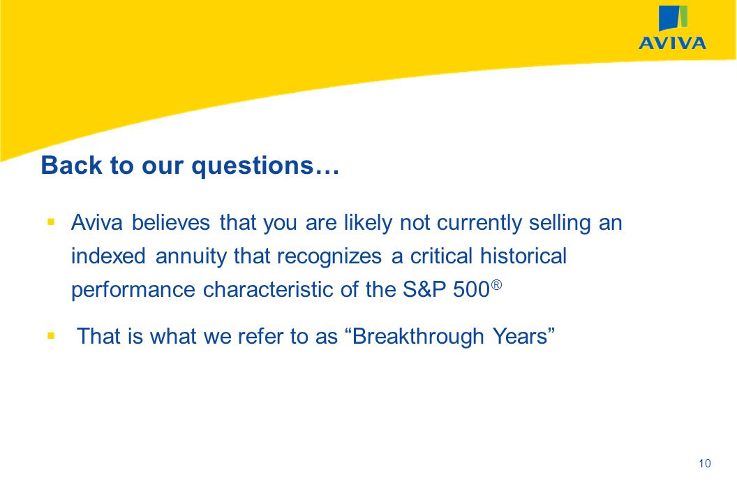 AVIVA SEPTEMBER 2002 10 Aviva believes that you are likely not currently selling an indexed annuity that recognizes a critical historical performance