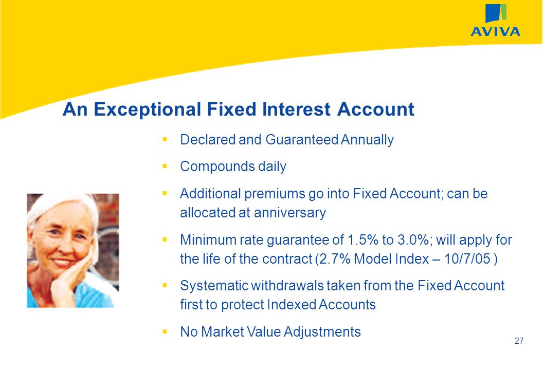 AVIVA SEPTEMBER 2002 27 An Exceptional Fixed Interest Account Declared and Guaranteed Annually Compounds daily Additional premiums go into Fixed Accou